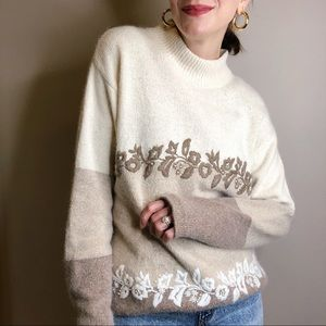 Vintage 80s Angora Beaded Sequin Blue Oversized Sweater Top
